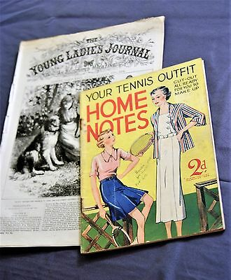 Home Notes Ladies Magazine 1935, and Young Ladies Journal, Late 19th century.