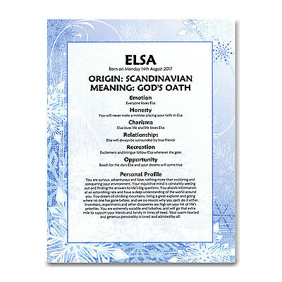 FIRST NAME MEANING PRINT Frozen - Personalised Birthday Christening Baptism Gift