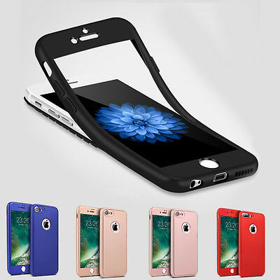 Für iPhone 7/ 8/ X/ 6/ 5 Full Cover TPU 360 Grad Handy Schutz Hülle Bumper Case