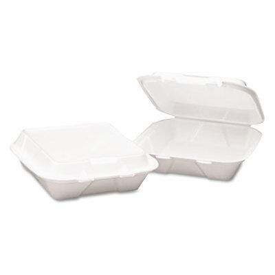 Snap-It Foam Hinged Lid Container, 3-Comp, 8 X 8 X 3, White, 200/carton