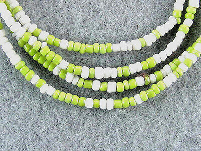 Trade-Beads-Antique-Very-Nice-Strand-Micro-Glass-White-And Green-Glass-Beads