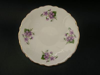 Royal Adderley Violets Vintage Bone China Pin Butter Dish England c1930s 11.5cm