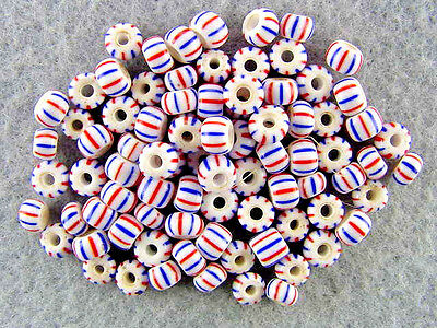 Trade-Beads-Venetian-Antique-Porcelain-White-Blue-Red-Striped-Glass-Beads