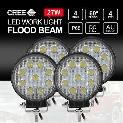 4x 27W CREE LED Work Light Round Camping Boat 12V24V FLOOD Lamps