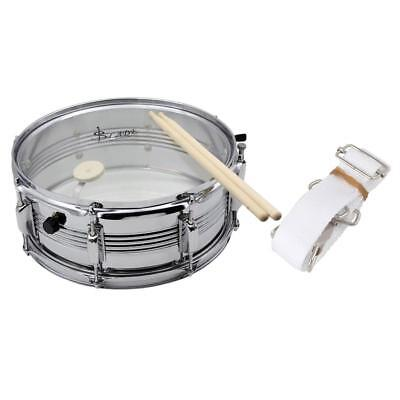 14'' Snare Drum Musical Percussion Silver w/ Drum Wire Beat Stick Strap Gift