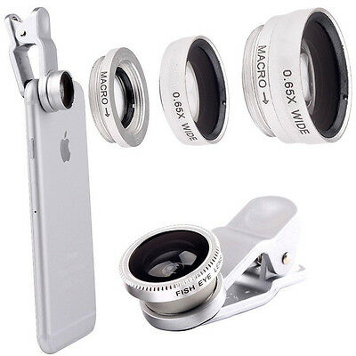 Silver 3 In 1 Fish Eye+Macro+Wide Angle Clip On Lens Camera Set For Mobile Phone