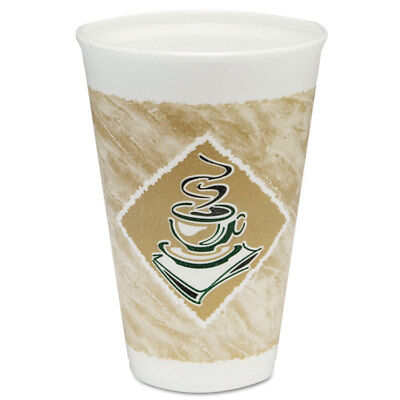 Cafe G Foam Hot/cold Cups, 16oz, White W/brown & Green, 1000/carton