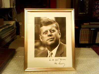 "John F. Kennedy Framed Black And White 8"" X 10"" Inscribed Signature Photo"