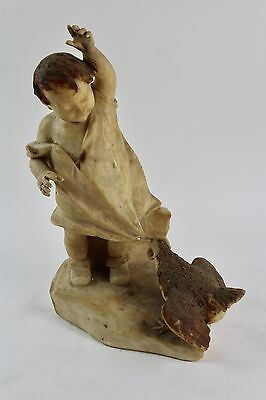 * Alabaster Figure, Child With Hen. Signed. Xix Century.