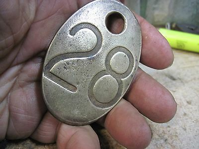 Vintage Brass Cow Number Tag Dairy Farm Cattle Marker # 28 Double Sided Original