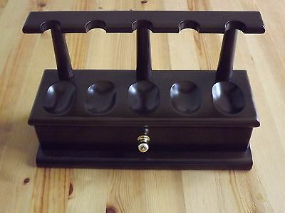 5 Pipe Wood Tobacco Pipe Stand Holder Rack with Drawer