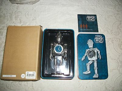 "Fossil Big Tic Metal Robot Display Clock 6"" - New Condition with Outer Brown Box"