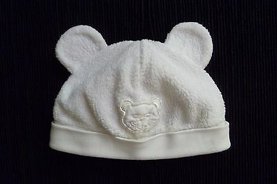 Baby clothes UNISEX BOY GIRL 3-6m white fleecy bear ears hat cotton lined C SHOP