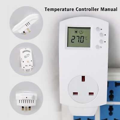 Plug In Thermostat Electric Digital Temperature Controller Heating Cooling UK