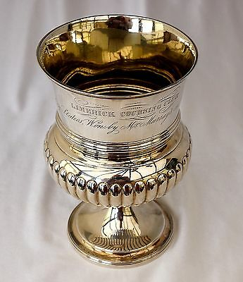 1817 George III Sterling Silver Irish Hare Coursing Trophy Goblet. Limerick Club