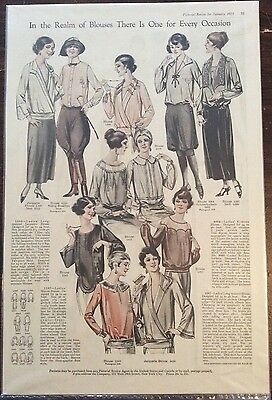 """Vintage 1923 Print Ad Pictorial Review Page 75 Womens Dress Patterns 10.5"""" x 16"""""""