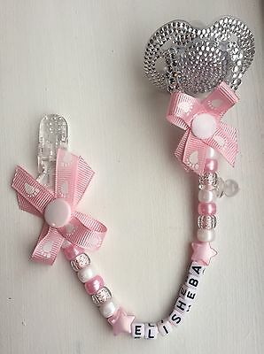 Personalised Dummy Clips💗Baby Gift👣Baby Shower👣Christening💗Romany