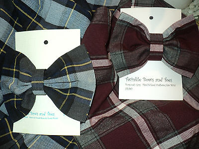 French Toast School Uniform Blue/Gold Plaid & Burgundy/Gray Plaid match Hair Bow