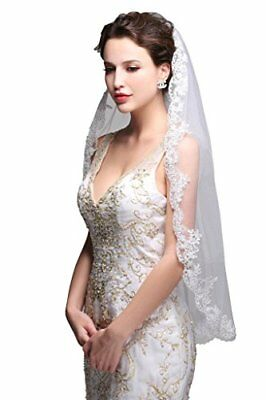 GEORGE BRIDE Simple Elegent Lace Appliques Wedding Veil One Size With Comb White