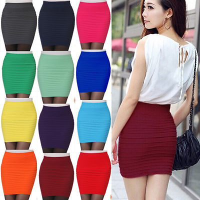 Women Pleated Seamless Stretch Tight Bodycon Mini Skirt Short Pencil