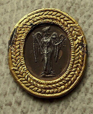 ANCIENT SILVER APPLICATION with GOLD OVERLAY ROMAN GODDESS VICTORIA