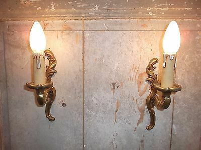 French a pair of patina  bronze wall light sconces nicely vintage