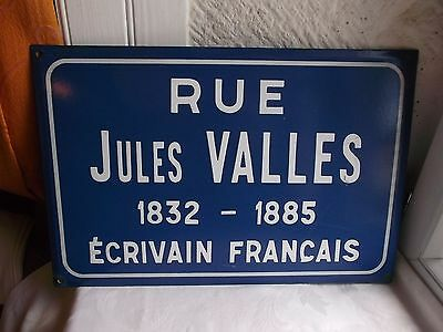 "French  porcelain enamel blue and white street sign "" Rue Jules Valles """