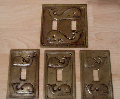 4 Vintage Heavy Brass Switch Plate Covers, 1 Double, 3 Singles, Patina, Whales