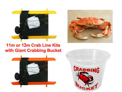 11m/13m Crab Fishing Line Kit & Crabbing Bucket Catcher Rings with Weight & Net