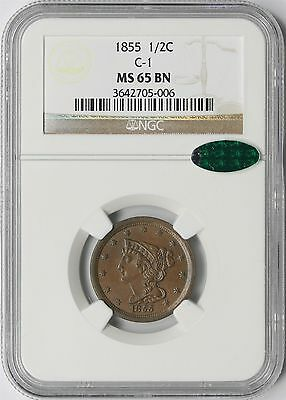 1855 1/2C NGC/CAC MS 65 BN Brown (C-1) Braided Hair Half Cent