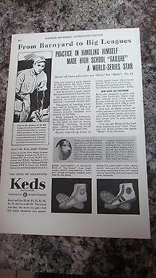 "Vintage Keds Sneakers Sport Shoes Ad 1931 ""From Barnyard to Big Leagues"""