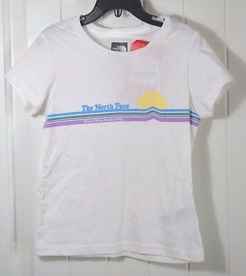 21012ae00 Nwt Girls The North Face Graphic White Short Sleeve Crew T Shirt Sz 2Xs-Xl