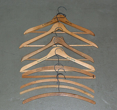 8 antique wooden clothes hangers with advertising industrial