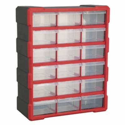 Sealey 18 Drawer Cabinet Box Red Black Storage Organiser Fixings Tray  APDC18R