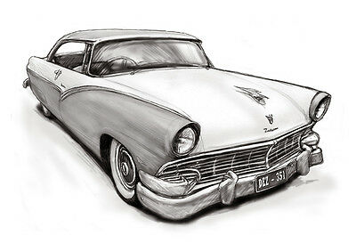 A3 29.7x42 Custom Personalized blackwhite car and boat Portraits from photo