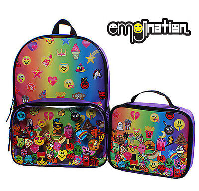 "New EmojiNation Rainbow Emoji Purple 16"" Backpack and Insulated Lunch Box Bag"