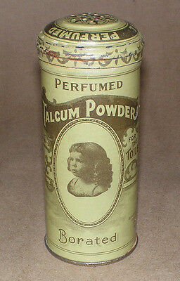 Vintage 1906 Talcum Powder Tin Can Borated Perfumed