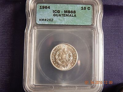 1964 Guatemala 10 Centavos ICG MS68 Monster Coin - Mintage only 965,000