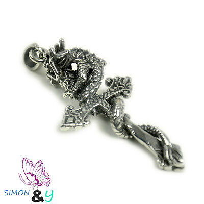 3D Antique Tarnish Stainless Steel 316L Dragon With Celtic Cross Pendant Mens