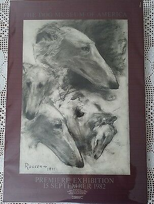 Vintage 1982 P. Rosseau Borzoi The Dog Museum of America Photolithographic Print