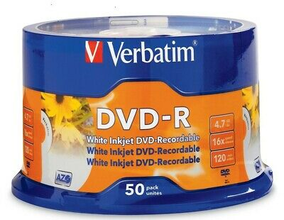 Verbatim DVD-R 4.7GB/16X - 50 Pack Spindle, White InkJet Printable