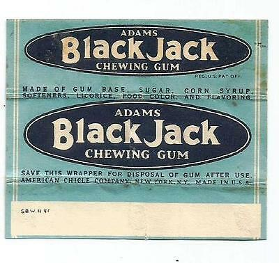 Vtg 1940 Black Jack Adams Chewing Gum Wrapper