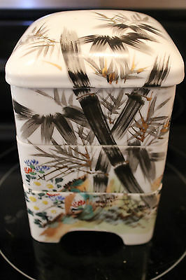 Antique Japanese  Bento Luncheon Box  4 Tier Ceramic Signed
