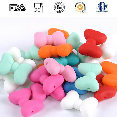 50Pcs Bowknot Silicone Beads Baby Teething Jewelry Chew Necklace Teether Making