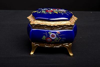 Vintage Jewelry Box Cobalt Blue Enamel Gilt Music Trinket Box - Japan
