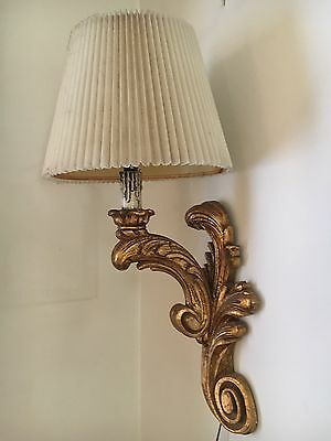 """Vintage Gold Wired Lamp Wall Sconce HOLLYWOOD REGENCY 24"""""""