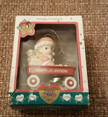 Precious Moments Radio Flyer Christmas Ornament (Girl with Teddy Bear) 2000 NIB