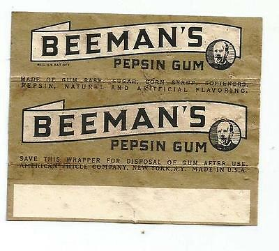 Vtg 1940's Beemans Pepsin Chewing Gum Wrapper