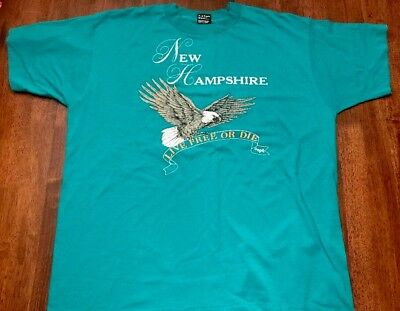 VTG Best Fruit Of The Loom 50 50 USA New Hampshire Live Free Or Die T Shirt L/XL