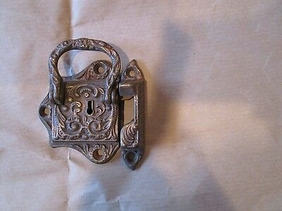 Victorian Antique Ornate Cast Metal Brass Coating ice box  Lock Latch no key